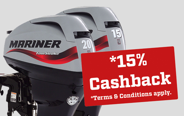 15% cash back on Mariner FourStroke 15 and 20 hp outboards!