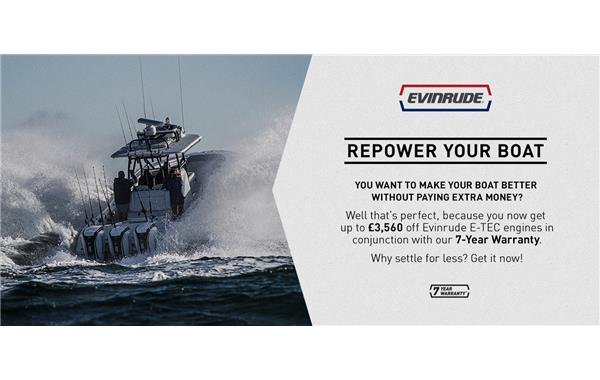 Up to £3,560 off Evinrude E-TECH Engines