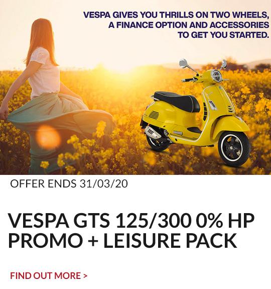 VESPA GTS 125/300 0% HP PROMO + LEISURE PACK